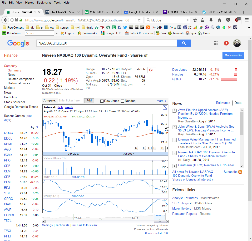 HYHRD: Google Sheets workaround for stock price of $QQQX